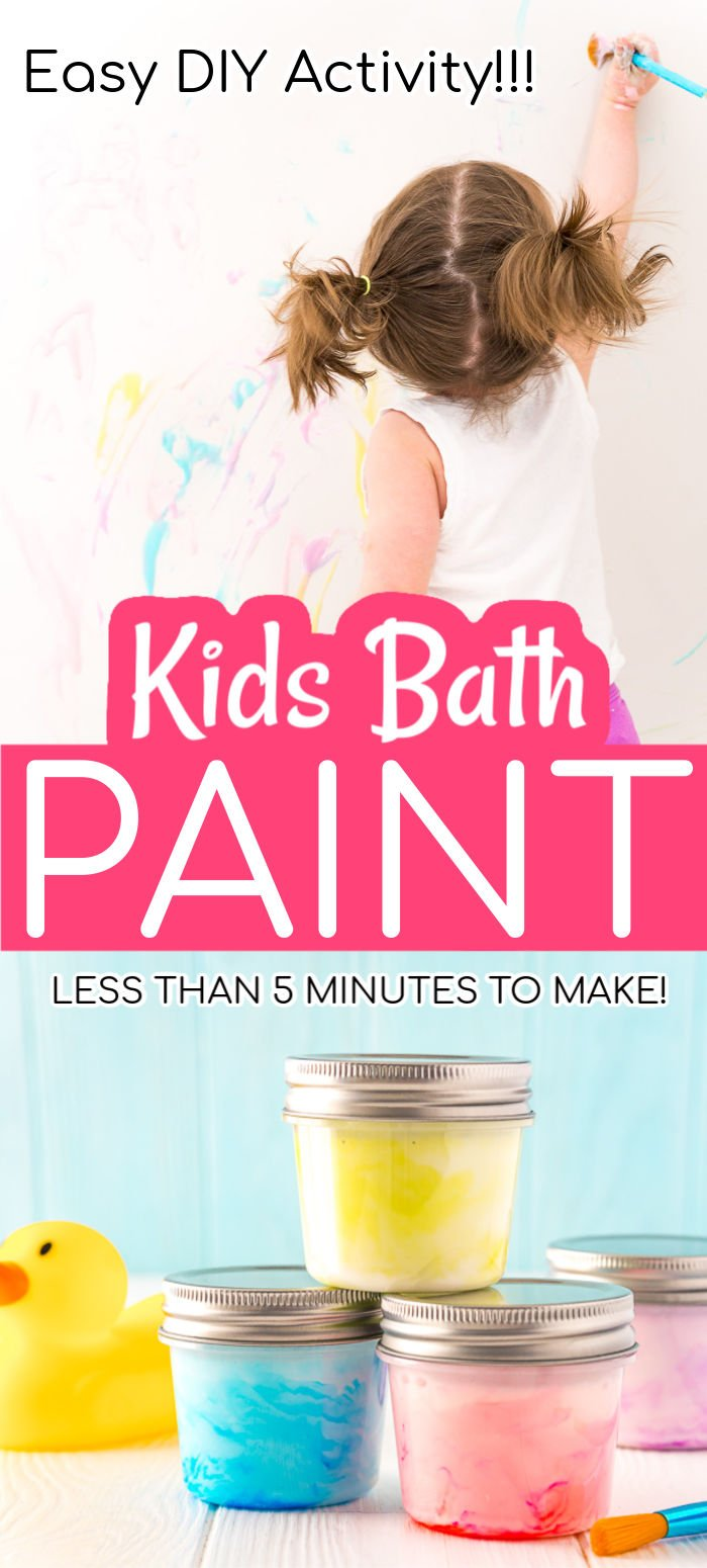If you're looking for an easy, cheap, and fun activity for the kiddos, try making this DIY Bath Paint for Kids! It takes just 5 minutes to make with three ingredients you probably already have on hand! via @sugarandsoulco