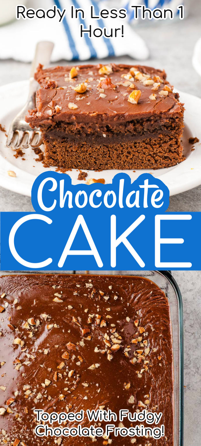 Buttermilk Chocolate Cake is a moist single-layer confection that's perfect for birthdays or any occasion! This cake is extra flavorful and fluffy thanks to the addition of buttermilk and it takes less than an hour to make! via @sugarandsoulco
