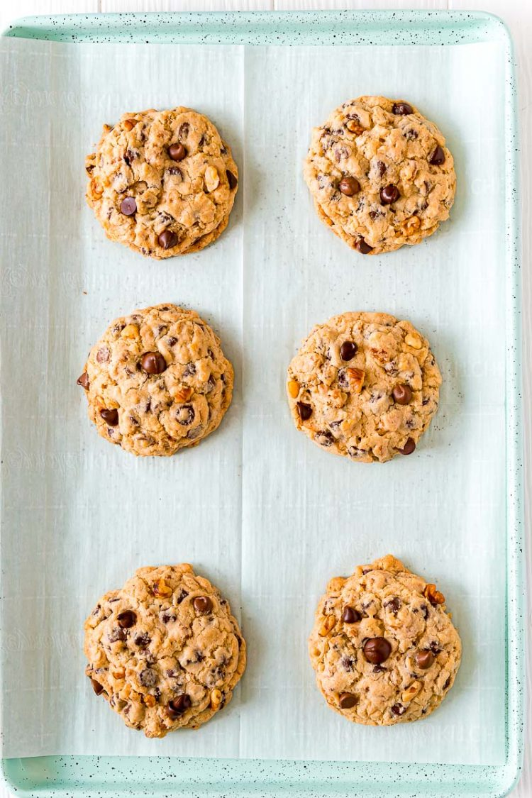 Overhead photo of chocolate chip walnut cookies on a baking sheet.