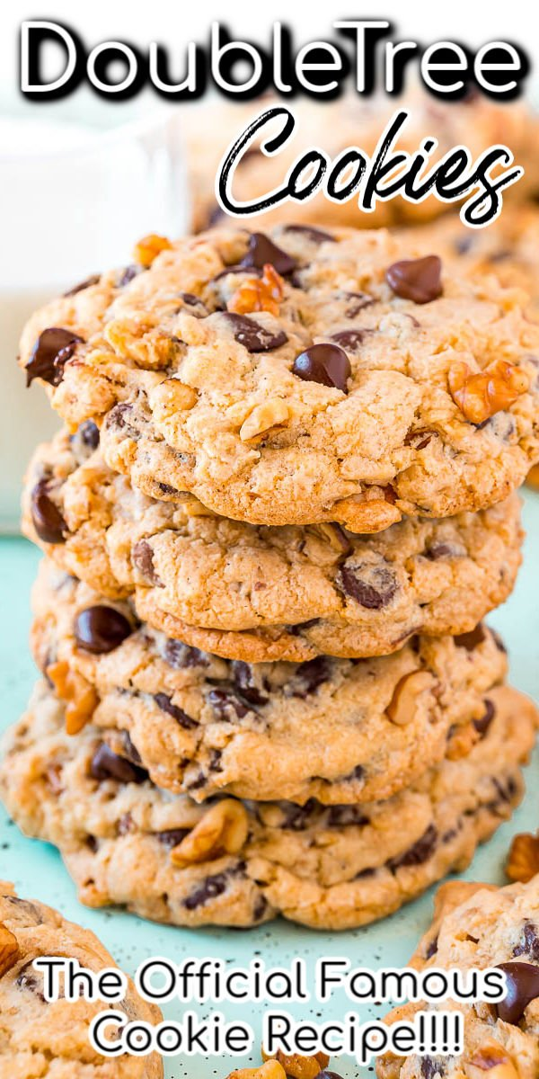 The official DoubleTree Cookie recipe that's loaded with chocolate chips, chopped walnuts, a hint of cinnamon, and a touch of lemon for a delightfully chewy and mouthwatering treat everyone is obsessed with!