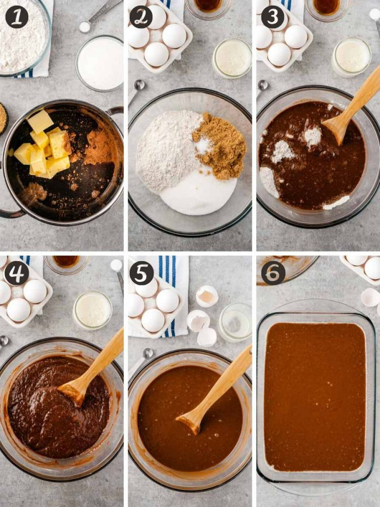 Step by step photo collage showing how to make Chocolate buttermilk cake.
