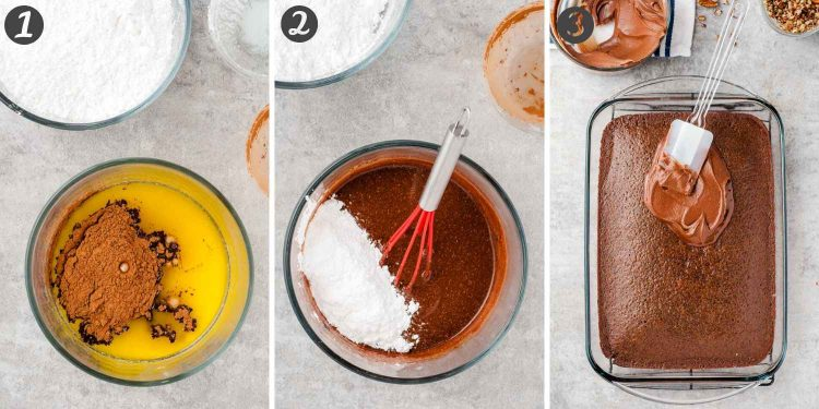 Step by step photo collage showing how to make frosting for a buttermilk cake.