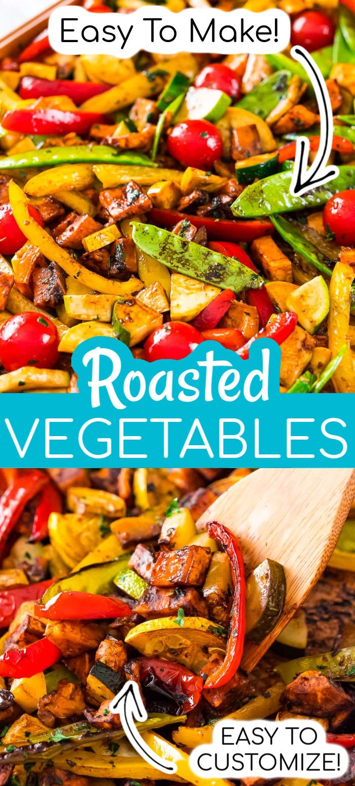 Roasted Vegetables are a great way to get the family to eat their veggies! Made with a medley of fresh produce, this easy side dish is extra flavorful thanks to a homemade herb-infused dressing.  via @sugarandsoulco