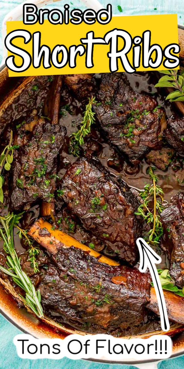 These Braised Beef Short Ribs are so tender and flavorful! There's nothing better than a rich and delicious beef dish that falls off the bone! Made in a Dutch oven, it is pure comfort food heaven! via @sugarandsoulco