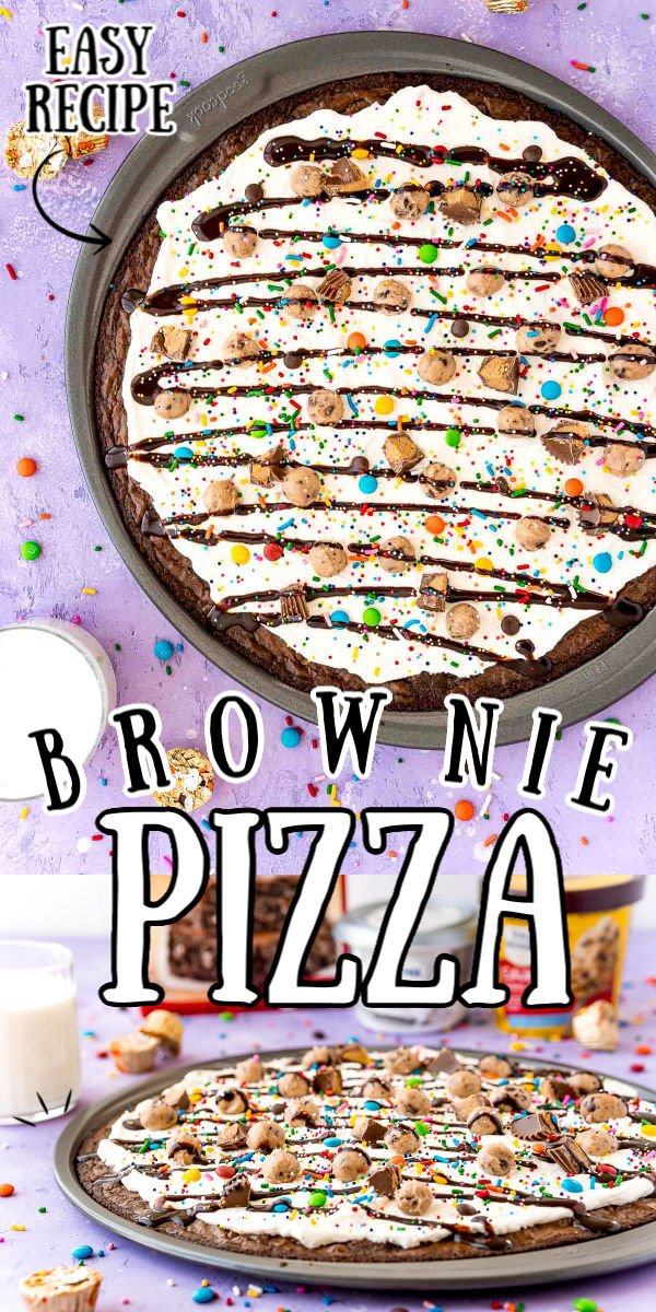 "Brownie Dessert Pizza is a fun recipe everyone will enjoy! A ""crust"" of brownie is topped with a layer of Cream Cheese Whipped Cream, then finished with edible cookie dough, candy, and a drizzle of chocolate syrup! via @sugarandsoulco"