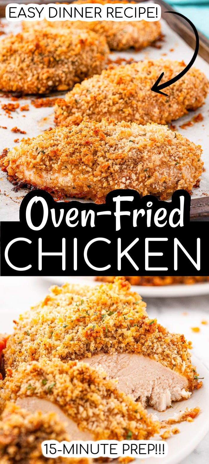 Oven Fried Chicken Breast is the healthier version of a comfort food favorite! Made with chicken breasts dredged in a spiced breadcrumb mixture, this easy recipe is light on fat but big on flavor!  via @sugarandsoulco
