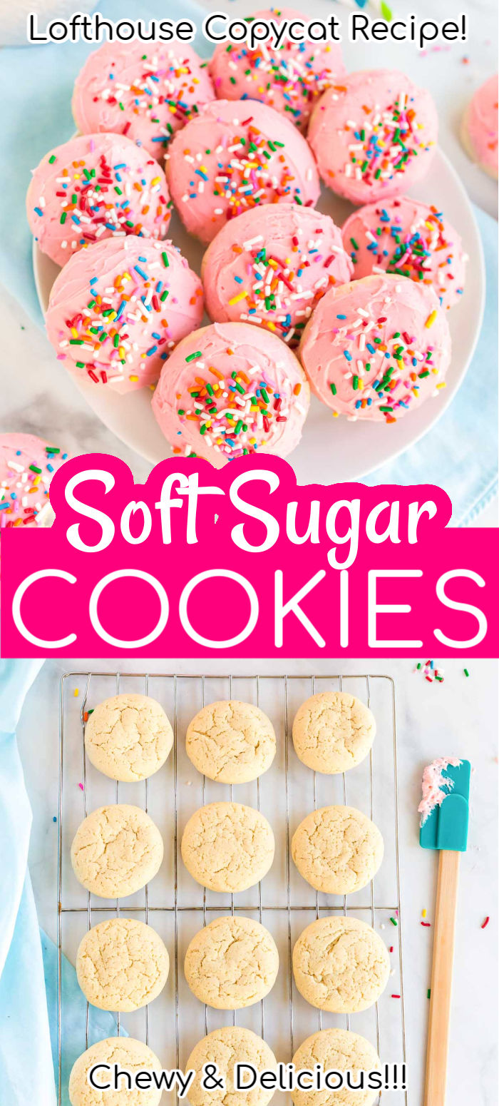 These Soft Sugar Cookies have an irresistible texture that's both cakey and moist! Topped with creamy pink frosting and sprinkles, they're like a love child between vanilla cupcakes and sugar cookies!  via @sugarandsoulco