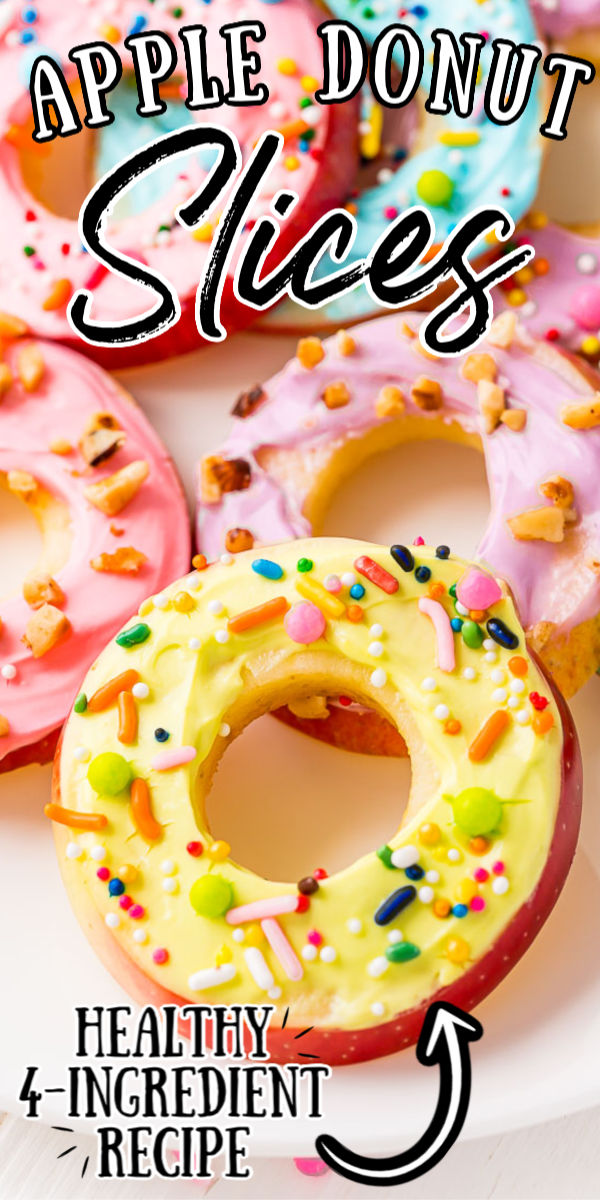 Apple Donut Slices are round slices of apple covered in a maple cream cheese yogurt frosting and yummy toppings! They're a light summer snack that's fun to make ... and much healthier than your average donut!  via @sugarandsoulco