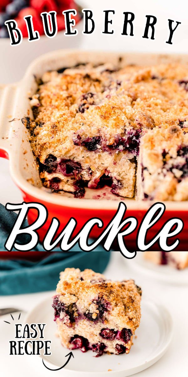 "This Blueberry Buckle Recipe is the perfect way to enjoy seasonal berries. This moist blueberry cake is topped with a sugary, buttery crumble that ""buckles"" as it bakes! via @sugarandsoulco"