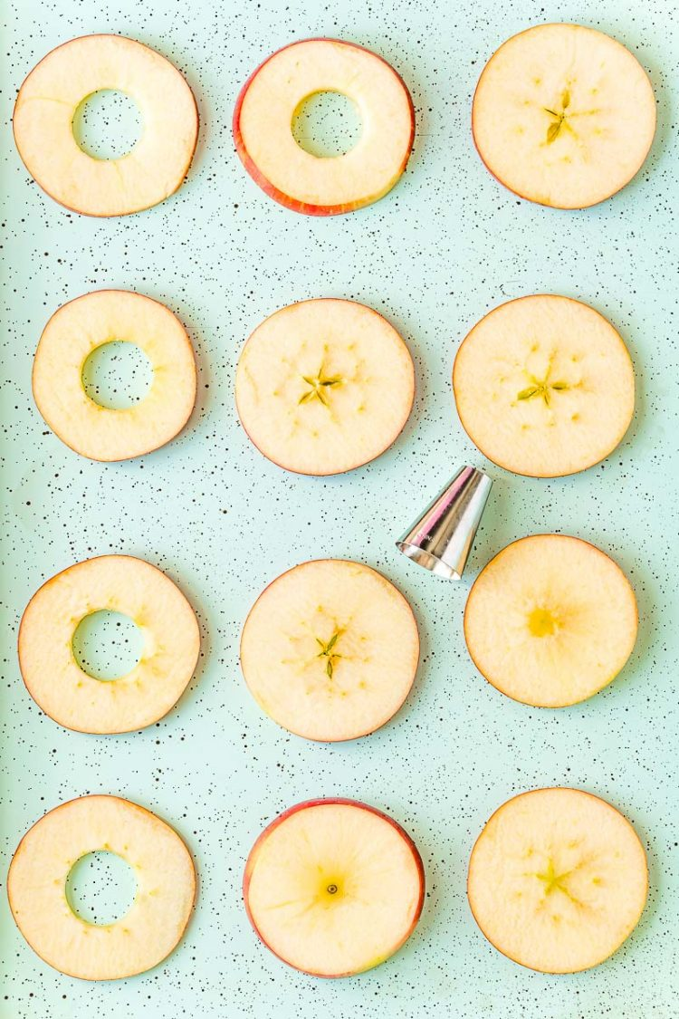 Round apple slices on a blue baking sheet being cored with a round piping tip.