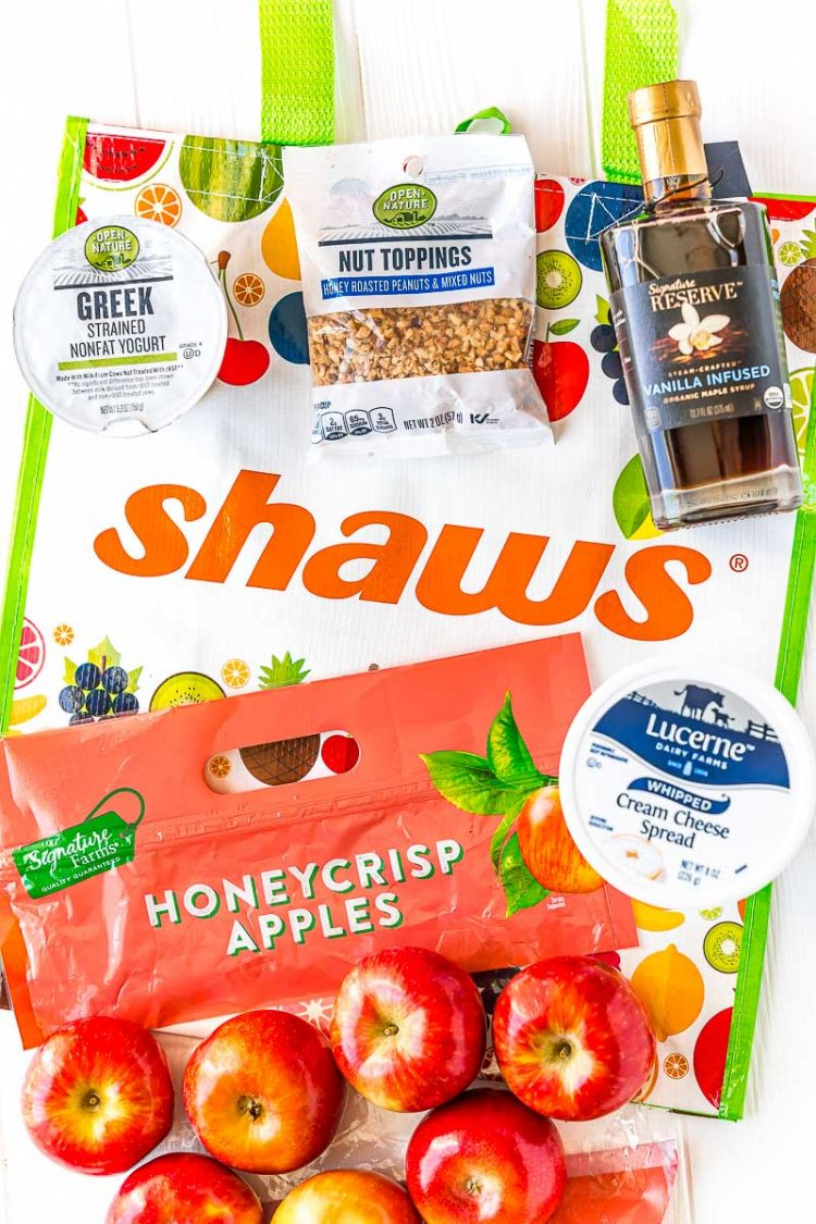 Overhead photo of a Shaw's reusable shopping bag and ingredients to make apple slices with cream cheese yogurt frosting.