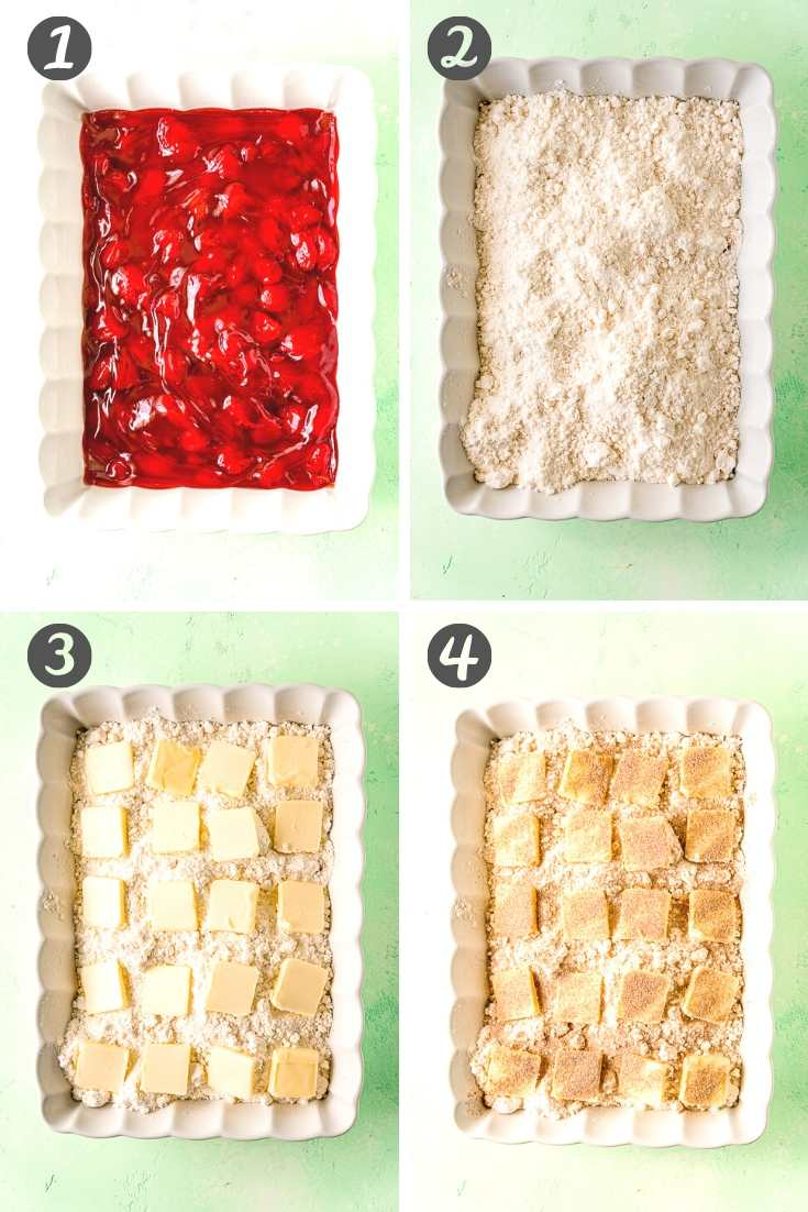 Step by step photo collage showing how to make strawberry dump cake.
