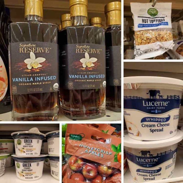 photo collage of ingredients on the shelf of Shaw's Supermarket.