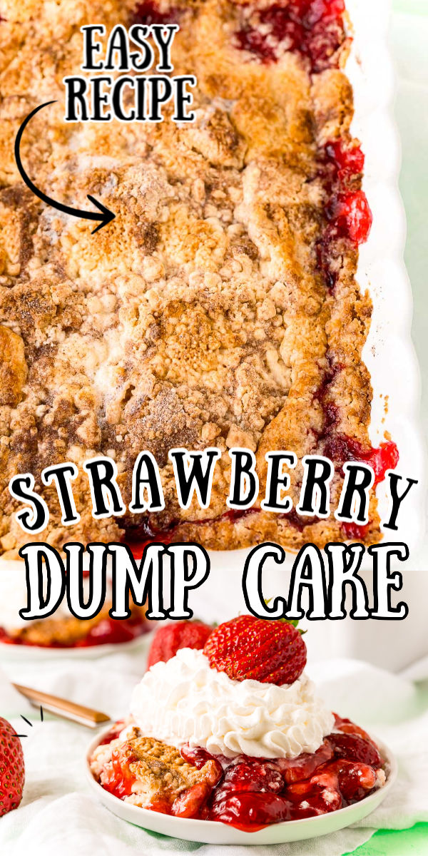 "This Strawberry Dump Cake Recipe will be your new go-to summer dessert! It's made with three main ingredients that are ""dumped"" into a pan and baked. The result is a cobbler-like dessert that tastes delicious with vanilla ice cream or whipped cream.  via @sugarandsoulco"