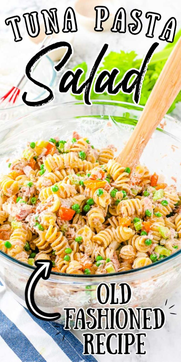 Tuna Pasta Salad is a tasty side dish for summer! Rotini, veggies, and tuna are tossed in a creamy homemade dressing made of mayo, sour cream, and spices! You can serve it chilled which means you can make in a couple of days in advance, so it's perfect for summer potlucks! via @sugarandsoulco