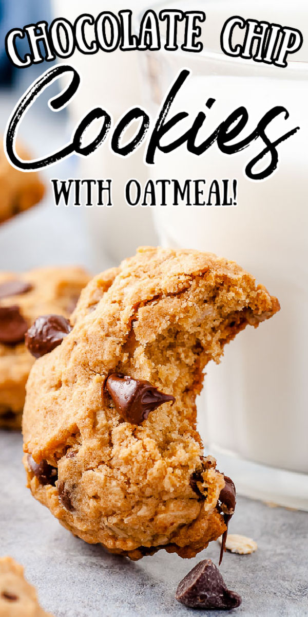 Oatmeal Chocolate Chip Cookies combine two classic treats in one! These soft and chewy oatmeal cookies are a delicious dessert recipe the whole family will love! And they contain an unexpected ingredient that cuts down on calories — but not flavor!  via @sugarandsoulco