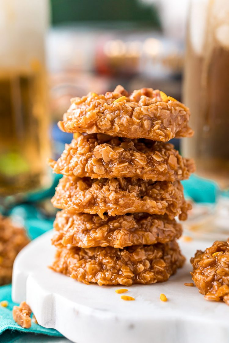 Stack of no bake cookies on a marble plate.