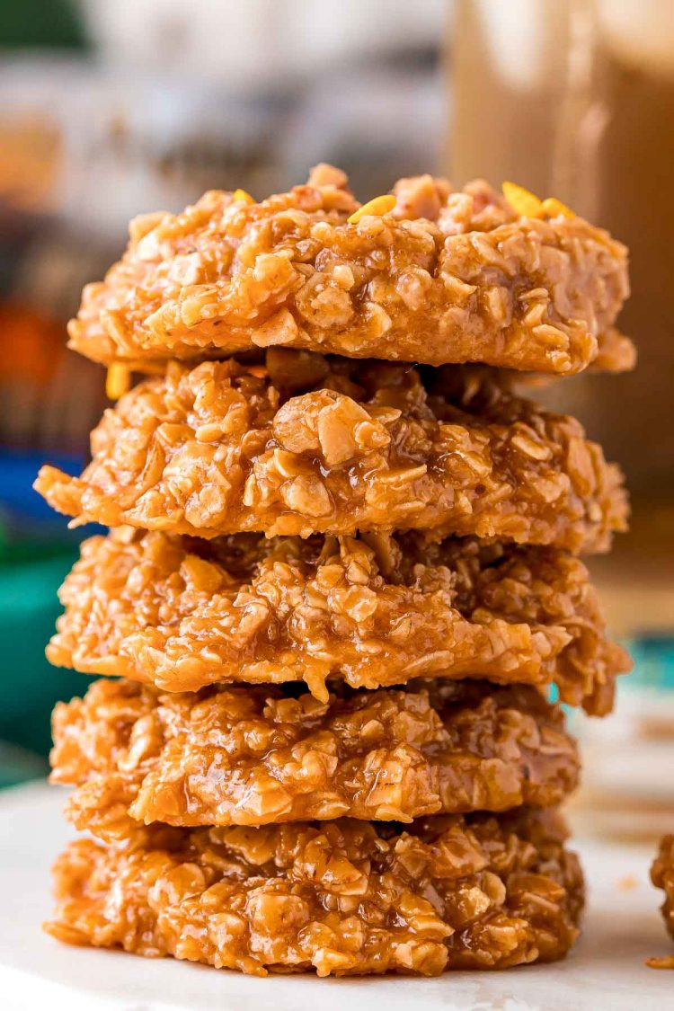 Stack of butterbeer no bake cookies.
