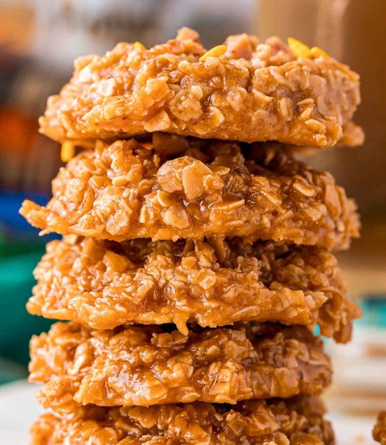 Stack of butterbeer no bake cookies.