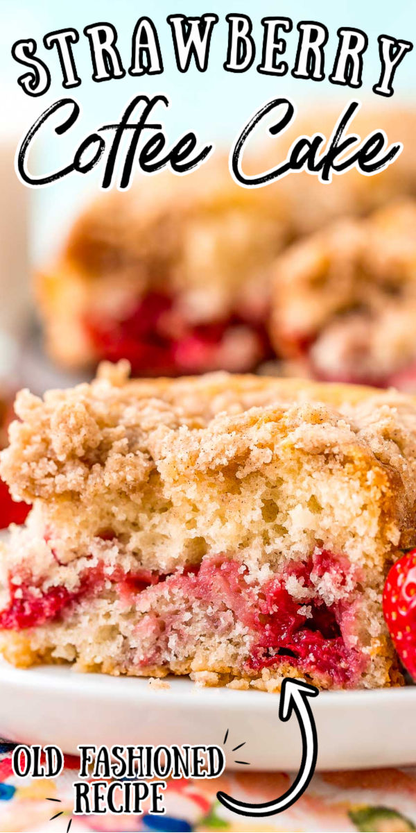 This Strawberry Coffee Cake is a tender breakfast cake loaded with fresh strawberries and topped with a buttery cinnamon sugar streusel topping  -- the perfect pairing with a cup of coffee! via @sugarandsoulco