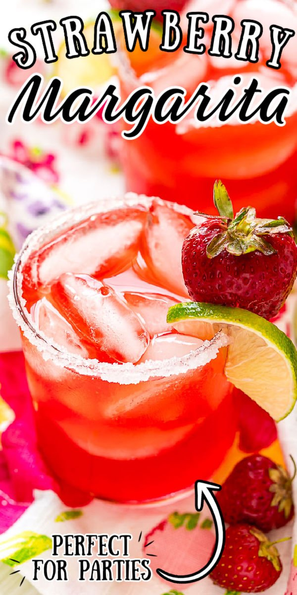 Strawberry Margaritas are fruity, fresh, and perfect for summer! Made with tequila, orange liqueur, fresh lime juice, and homemade strawberry simple syrup. This cocktail can be sipped on the rocks or frozen. via @sugarandsoulco