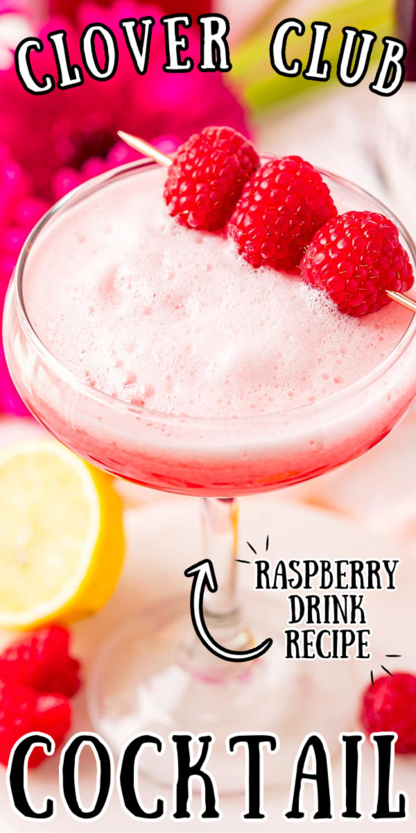 This Clover Club Cocktail is fruity, frothy, and fun to sip. Made with gin, egg whites, raspberry syrup, and lemon juice, it looks and tastes fancy, but it's simple to make! via @sugarandsoulco