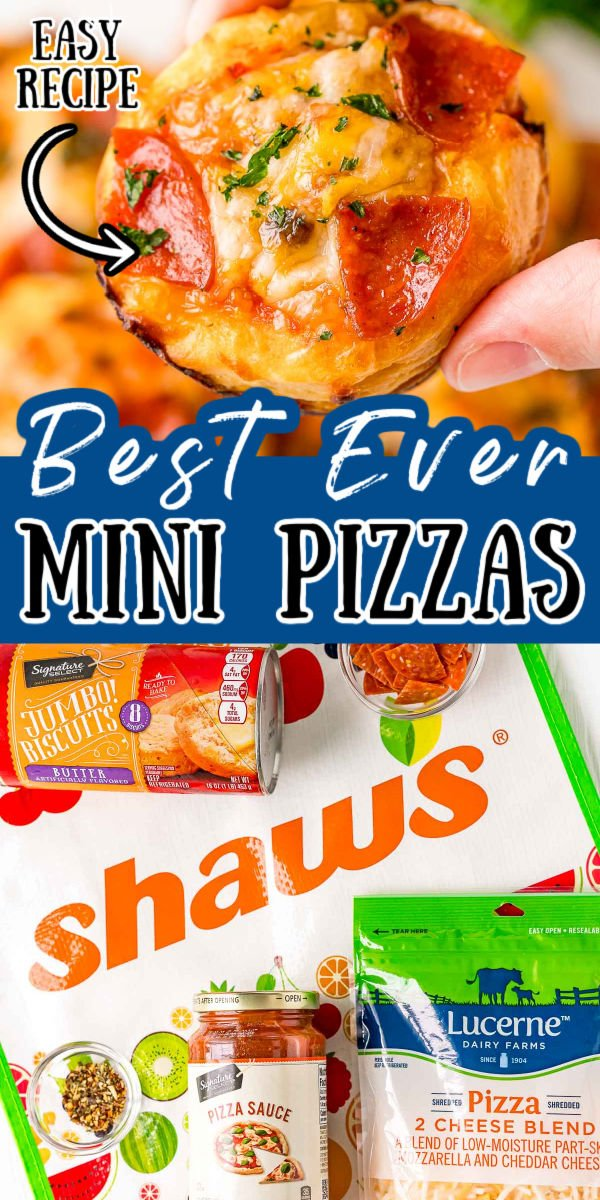 Mini Pizzas are made with just 5 ingredients: canned biscuits, pizza sauce, pepperoni, cheese, and spices, and are ready in less than 20 minutes! They're baked in a muffin tin, and since they're individually made, everyone in the family can top their own!  via @sugarandsoulco