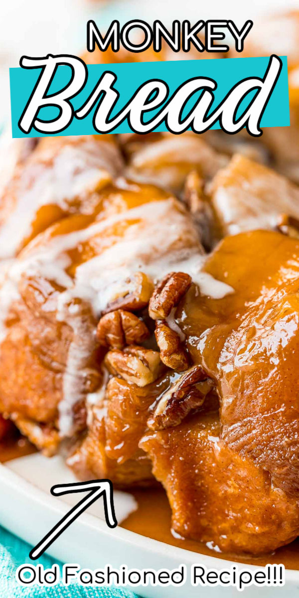 Monkey Bread is a pull-apart bread that's insanely addictive! It's made with soft biscuit dough that's coated in cinnamon and sugar, loaded with pecans, and drenched in a sticky, sugary, butter sauce. The finishing touch is a drizzle of homemade vanilla icing. via @sugarandsoulco