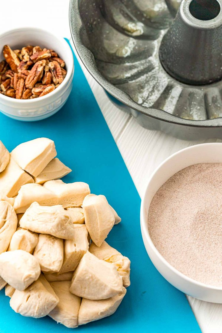 Ingredients to make monkey bread.