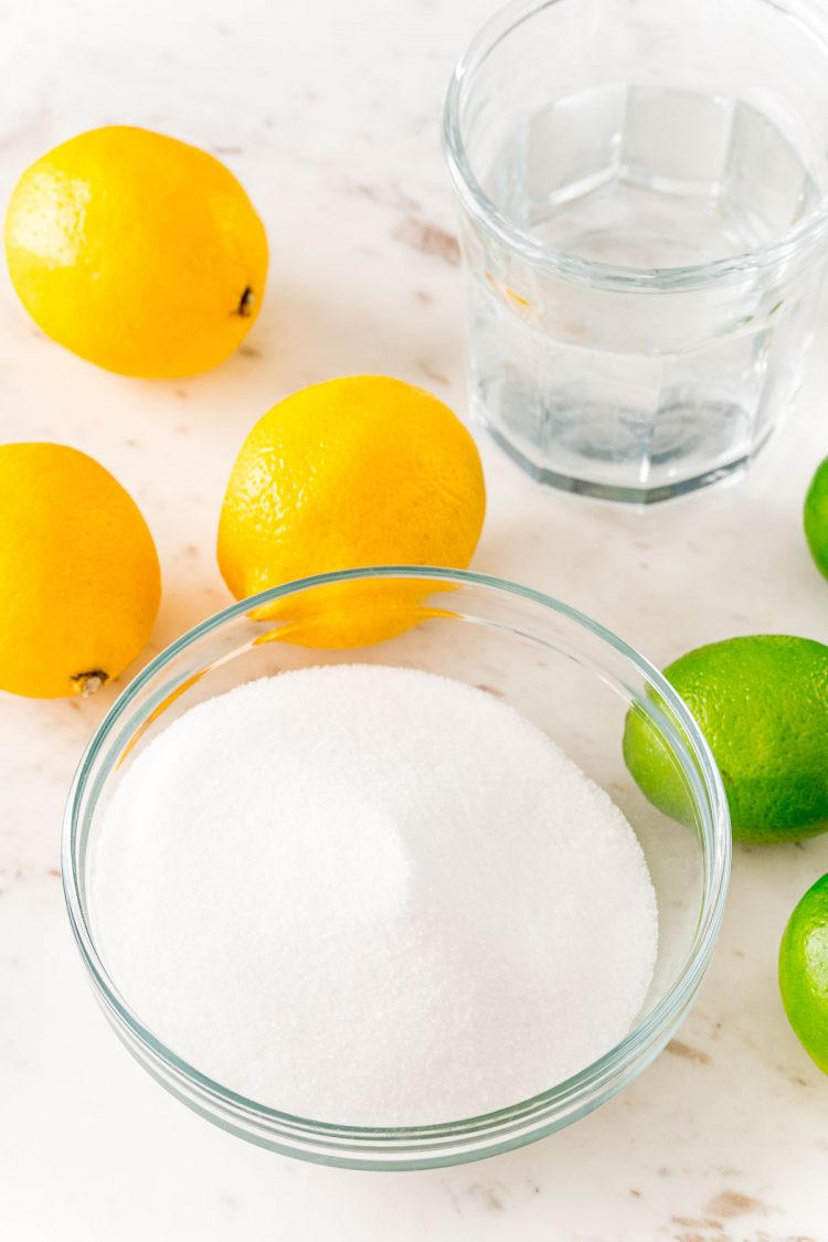 Ingredients to make homemade sour mix