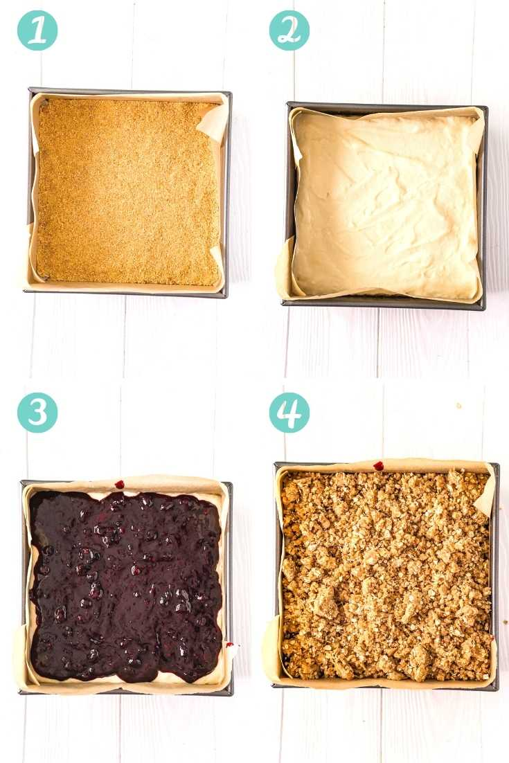 Step by step photo collage showing how to make blueberry cheesecake bars.