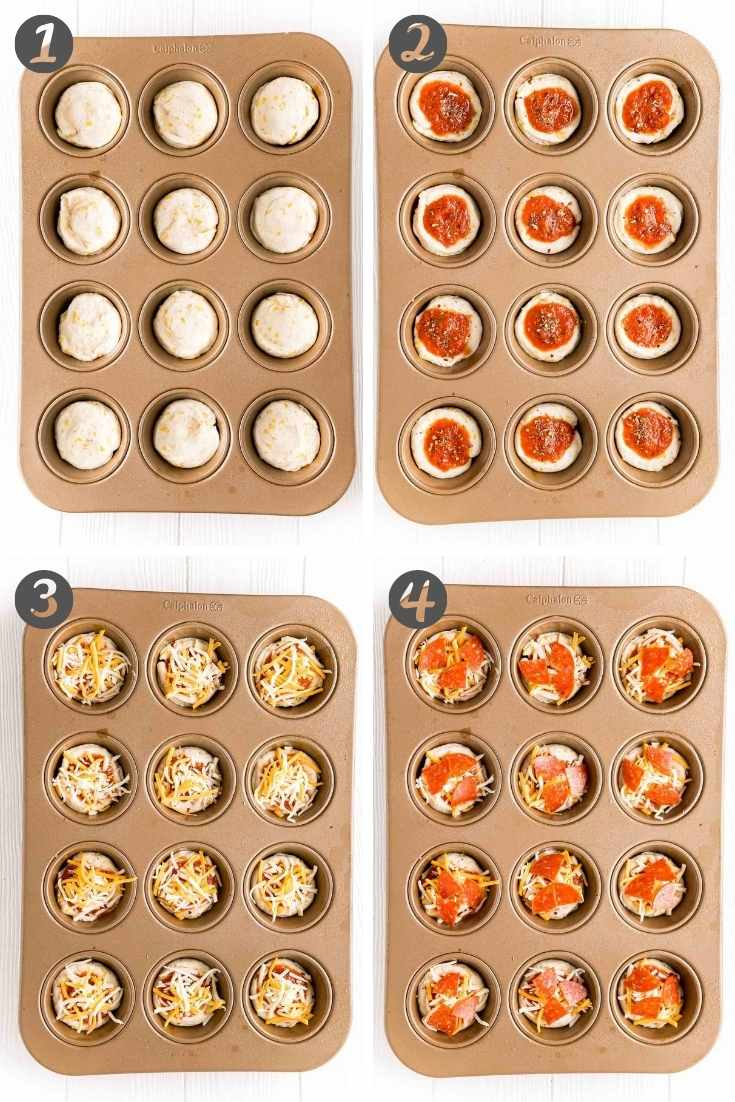 Step by step photo collage showing how to make mini pizzas in a muffin tin.