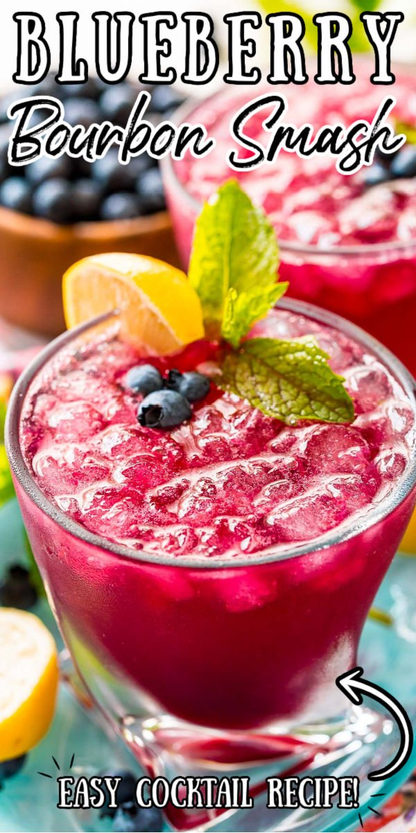 This Blueberry Whiskey Smash Cocktail is a delicious craft drink recipe for happy hour at home! It's made with muddled lemon and mint, blueberry simple syrup, bourbon whiskey, a splash of club soda, and served over ice.  via @sugarandsoulco
