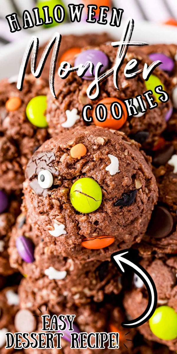 Halloween Monster Cookies are scary delicious! These treats are made with chocolate cake mix, quick oats, and peanut butter, then loaded with M&Ms and chocolate chips. Decorated with Halloween sprinkles and candy eyeballs, this is a festive recipe to make with the kiddos! via @sugarandsoulco