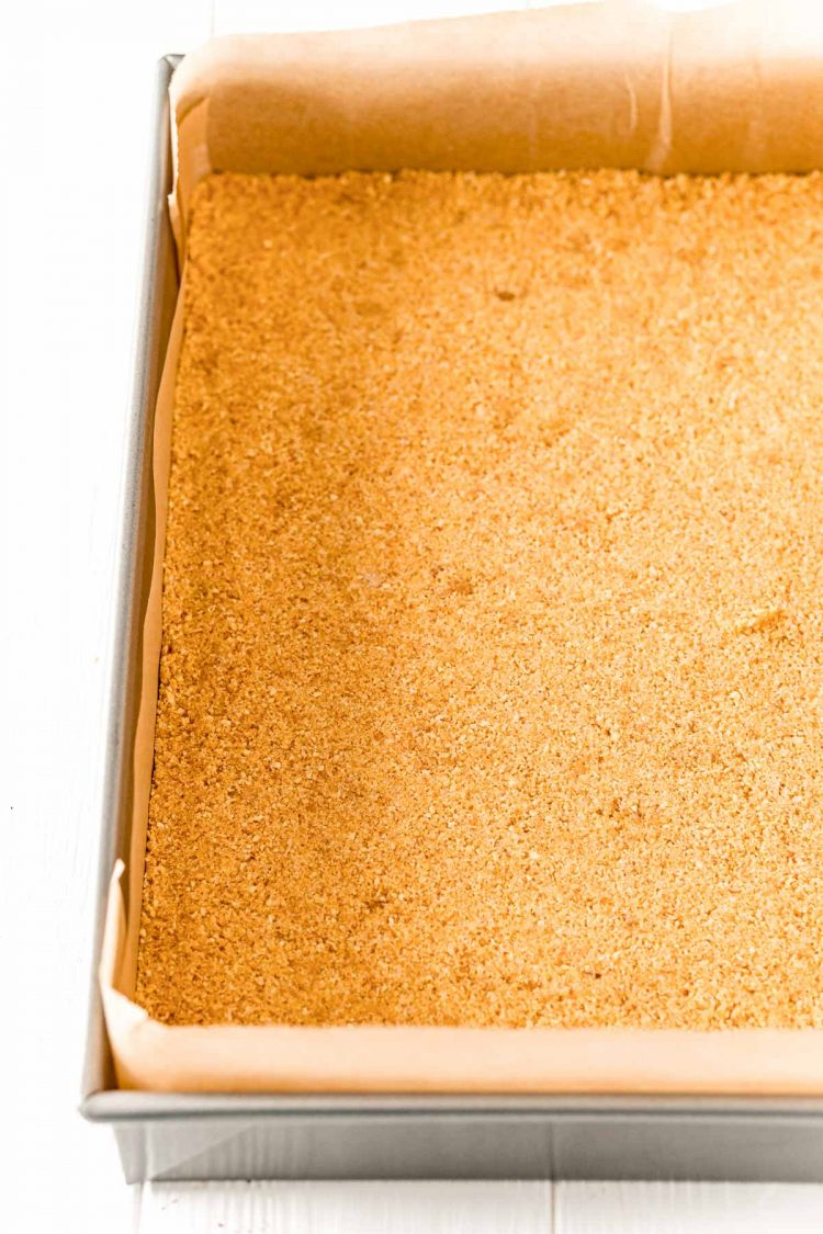 Graham cracker crust in a 9x13-inch pan.