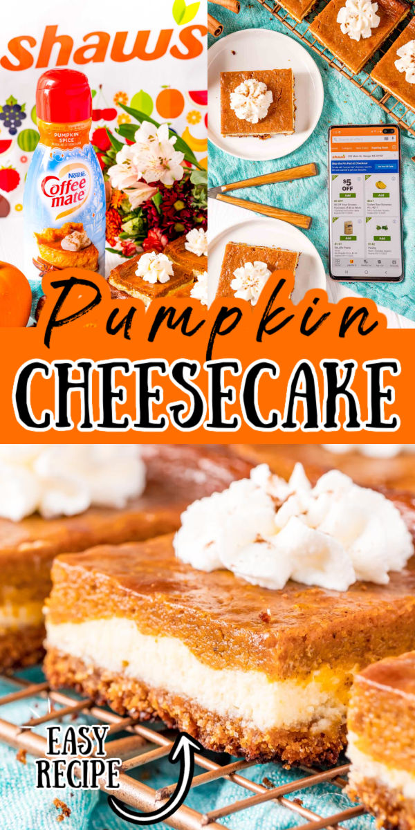 Pumpkin Cheesecake Bars are made with a buttery graham cracker crust is topped with a layer of creamy cheesecake and then a silky pumpkin spice layer for an irresistible and shareable dessert. This easy pumpkin spice dessert is perfect for fall! via @sugarandsoulco