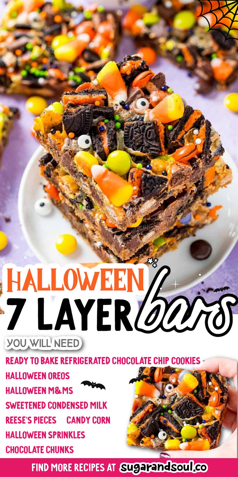 Halloween Seven Layer Bars are piled high with treats! A base of refrigerated chocolate chip cookie dough is topped with layers of Oreos, chocolate chunks, Reeses Pieces, M&Ms, and gooey sweetened condensed milk. The finishing touch is a handful of candy corn and some Halloween sprinkles! via @sugarandsoulco
