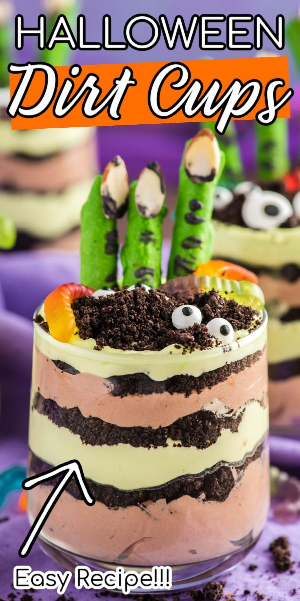 "Halloween Dirt Cups look like overturned earth but taste heavenly! Creamy chocolate and vanilla layers are sprinkled with handfuls of crushed Oreo ""dirt."" The finishing touches are chocolate pretzel ""monster fingers,"" gummy worms, and candy eyeballs! via @sugarandsoulco"