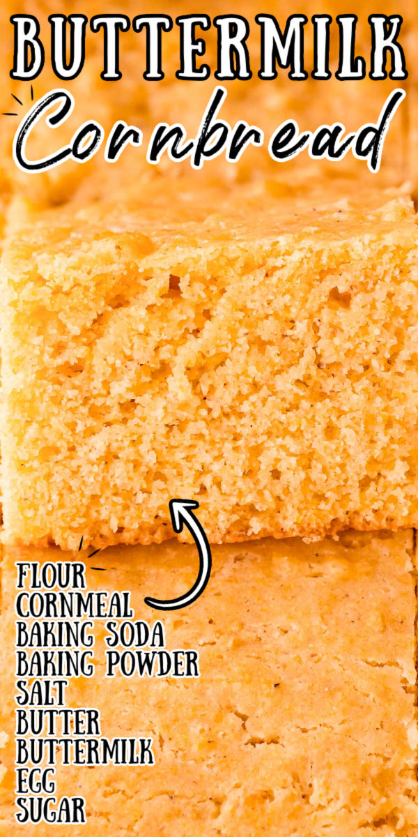 Buttermilk Cornbread is tender and buttery with a hint of sweetness! This from-scratch recipe beats any box mix and uses coarse cornmeal, buttermilk, butter, and sugar, and packs an incredible texture and flavor.  via @sugarandsoulco