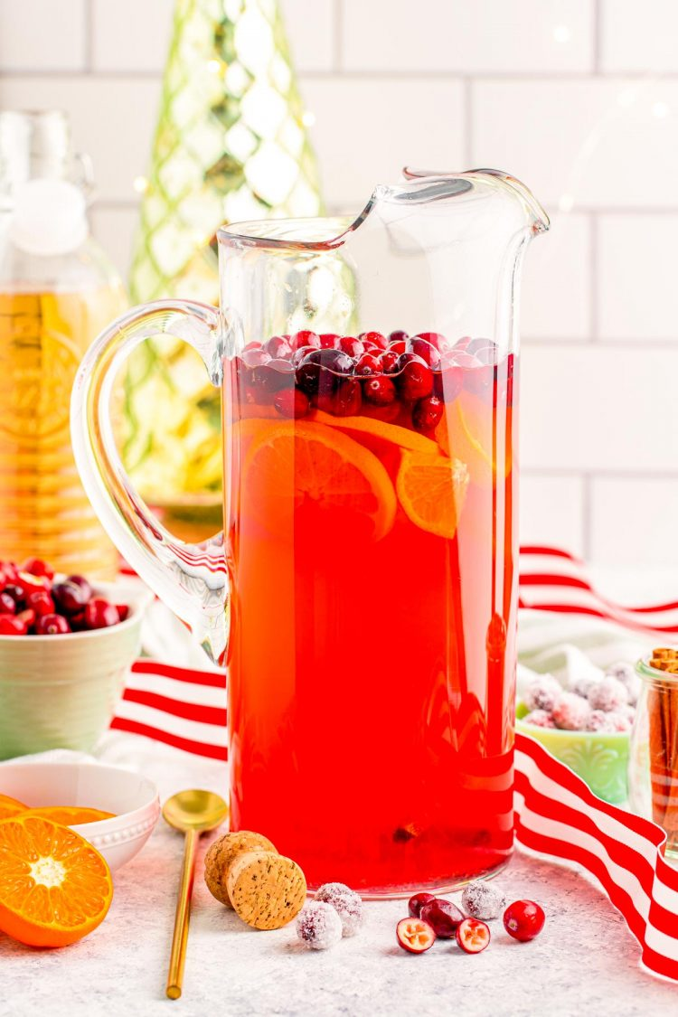A pitcher of Christmas Mimosa Punch.
