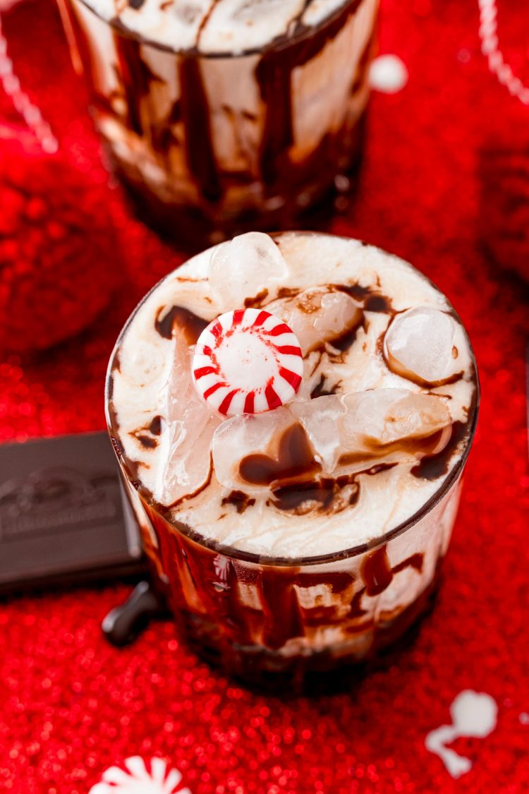 Close up photo of a chocolate peppermint white russian cocktail.