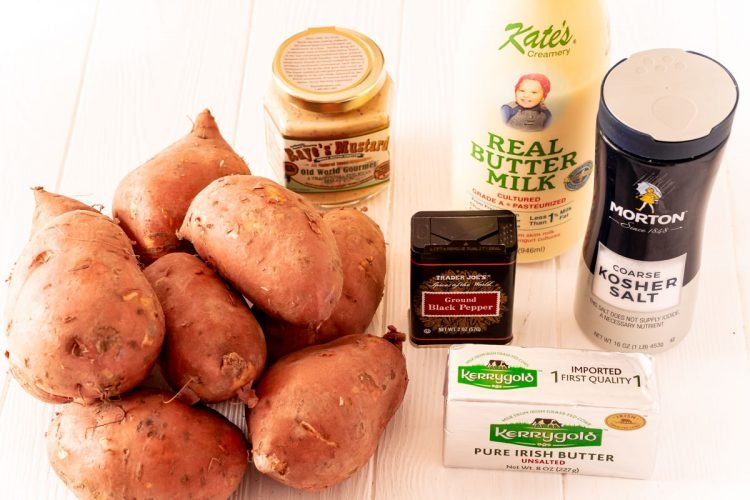 Ingredients to make savory mashed sweet potatoes.