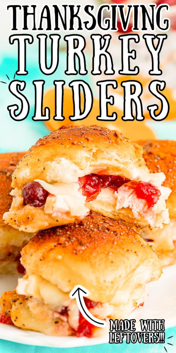 Leftover Thanksgiving Turkey Sliders are like the holidays on a bun! Sweet Hawaiian rolls are brushed with a sweet and savory glaze, filled with turkey, cranberry sauce, and cheddar cheese, then warmed in the oven.  via @sugarandsoulco