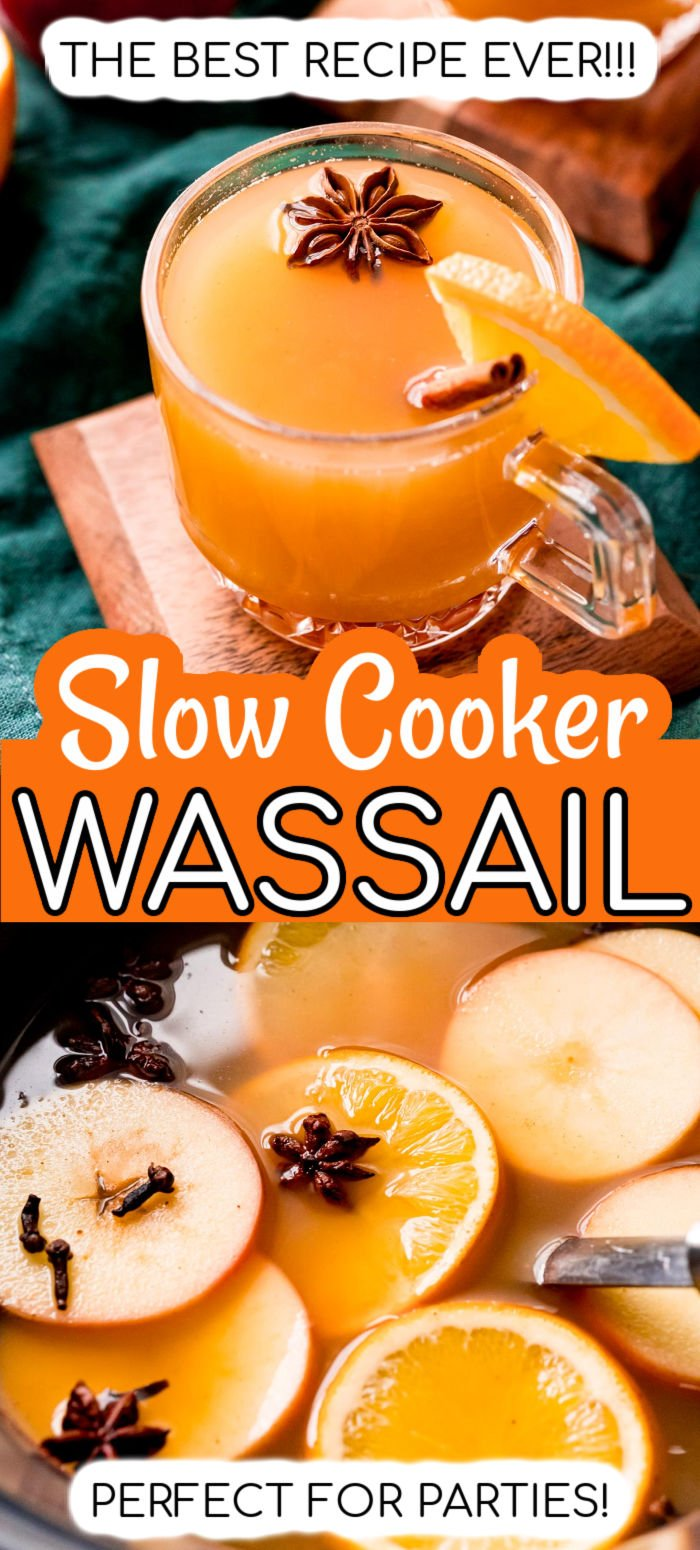 This Hot Wassail recipe is a delicious drink made with warm apple cider, juice, brown sugar, and spices. This warm holiday drink is made in the slow cooker for ease and is perfect for serving at gatherings! via @sugarandsoulco