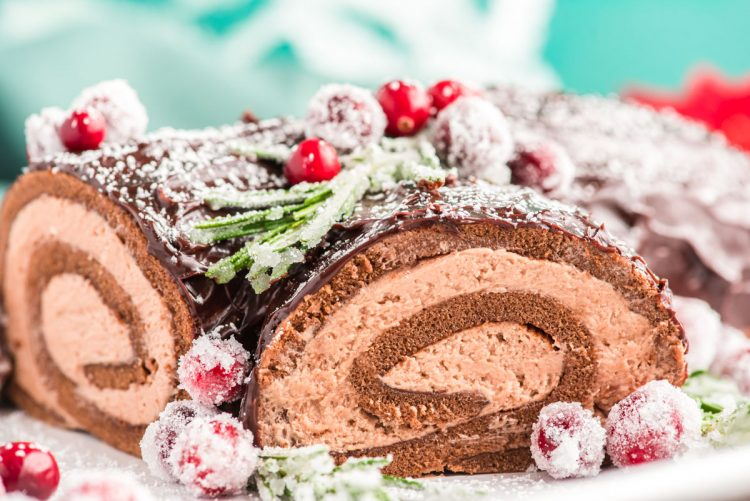 A close up photo of a yule log cake garnished with rosemary and cranberries and powdered sugar.