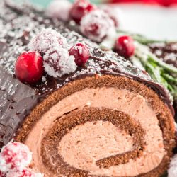 Close up photo of a buche de noel yule log cake with chocolate filling topped with cranberries and rosemary.