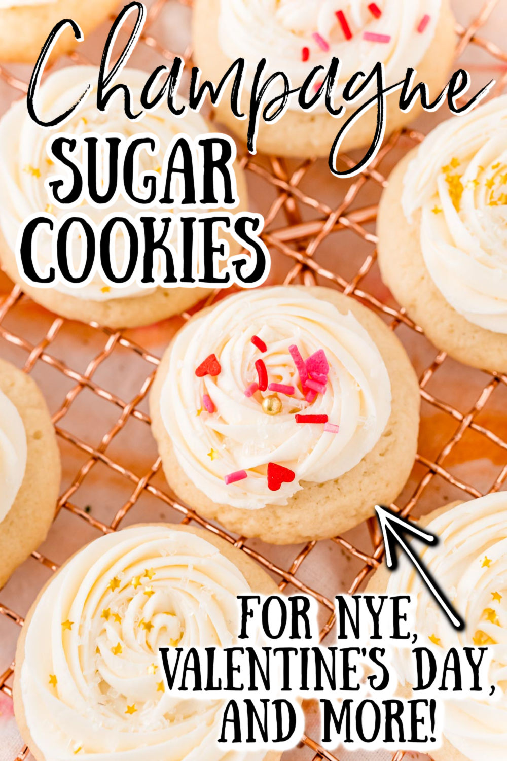 Champagne Sugar Cookies are an amazingly light and fluffy cookie topped with a silky and luxurious champagne buttercream frosting! These cookies are perfect for New Year's Eve, but can also be enjoyed while cuddled up next to the one you love on Valentine's Day or when celebrating the new bride!  via @sugarandsoulco