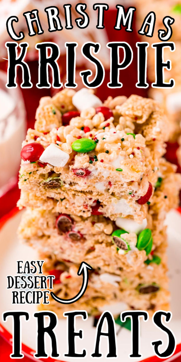 These Christmas Rice Krispie Treats are made with butter, marshmallows, cereal, candy, and more for a festive no-bake dessert that's ready in no time! via @sugarandsoulco