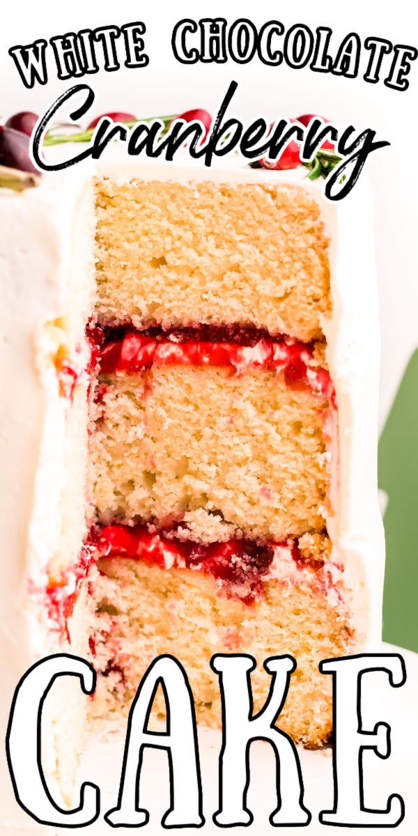 This Cranberry White Chocolate Cake is a delicious layered white cake filled with a cranberry compote and then frosted with a delicious white chocolate buttercream frosting.  via @sugarandsoulco