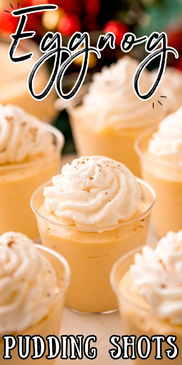 Eggnog Pudding Shots are a deliciously creamy, boozy treat that has minimal ingredients but all the flavor. They are quick to whip up and even quicker to disappear, these are the perfect holiday treat for your gatherings! via @sugarandsoulco